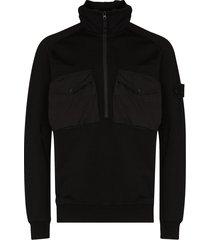 stone island ghost half-zip hoodie - black