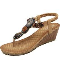 sandali infradit bohemien da spiaggia con zeppa a punta aperta decorati con perline ed elastico