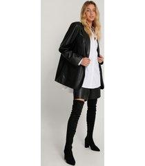 na-kd shoes overknee-stövlar i mockaimitation - black