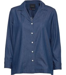 ams blauw chic denim shirt with island collar långärmad skjorta blå scotch & soda