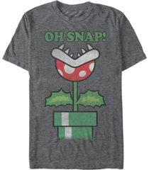 nintendo men's super mario piranha plant oh snap short sleeve t-shirt