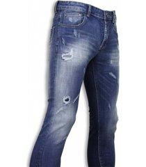 true rise basic jeans blue damaged regular fit