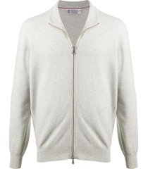 brunello cucinelli zip-up cashmere sweater - grey