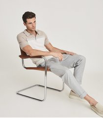 reiss cairns - colour block polo shirt in natural, mens, size xxl