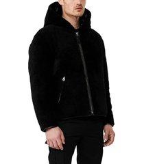 men's mackage bryce reversible water resistant genuine shearling down coat, size 40 - black
