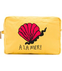 mini rodini à la mer embroidered carry-all case - yellow