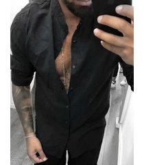 yoins basics hombres otoño casual cuello alto liso manga larga camisa