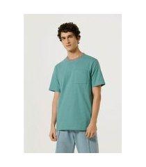 camiseta hering unissex color block com bolso verde