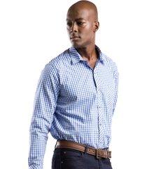 camisa azul a cuadros manga larga