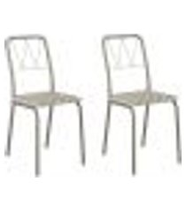 conjunto 2 cadeiras tubo champagne tecido estampado carraro