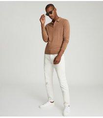 reiss trafford - merino wool polo shirt in camel, mens, size xxl