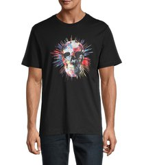 robert graham men's skull-print cotton tee - black - size s