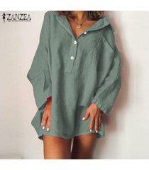 zanzea mujeres más botones casual camisa de manga larga vestido suelto mini vestido -ejercito verde