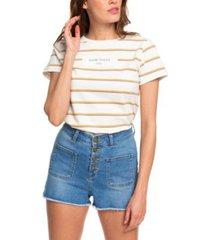 roxy juniors' frayed denim shorts