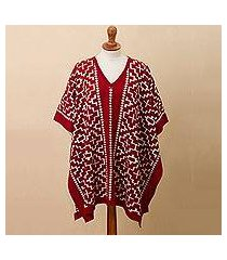reversible alpaca blend poncho, 'lovely composition in crimson' (peru)