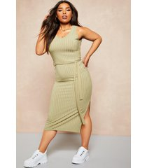 recycled rib tie waist midi dress, sage