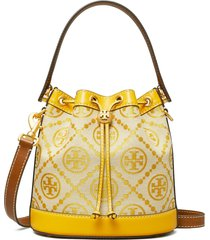tory burch yellow bucket bag with t monogram in jacquard