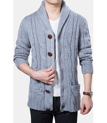 mens winter warm thick coat cappotto cardigan a maglia monopetto
