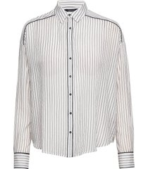 boxy fit allover printed viscose mix shirt långärmad skjorta vit scotch & soda