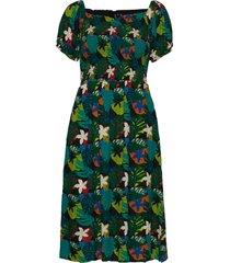 kala smocked midi dress knälång klänning grön superdry