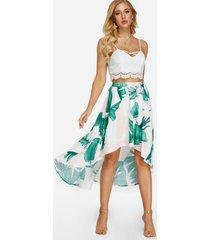 top corto con encaje sexy y falda con estampado de hojas con aberturas trajes de dos piezas