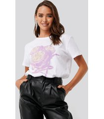na-kd flower oversized tee - white
