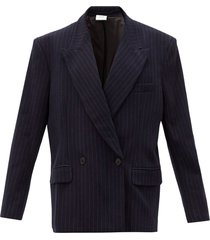 navy pinstripe double breasted jersey jacket