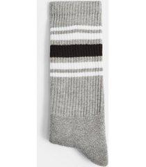 mens grey gray four stripe tube socks