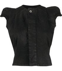 rick owens drkshdw frayed edge sleeveless jacket - black