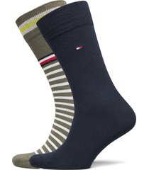 th men sock 2p collegiate stripe underwear socks regular socks blå tommy hilfiger
