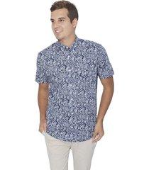 camisa manga corta estampada wooster - azul