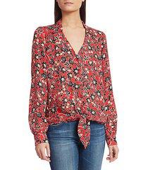 genevieve tie-front silk georgette blouse
