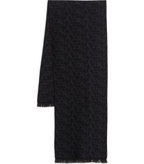 canali men's graphic wool scarf - black
