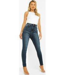 gebleekte skinny jeans met hoge taille, washed indigo