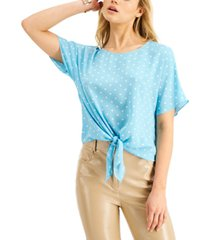 bar iii printed tie-front top, created for macy's