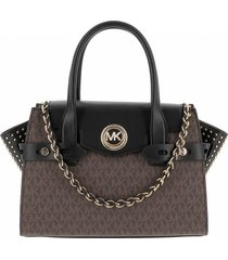 michael kors carmen monogram brown black handbag