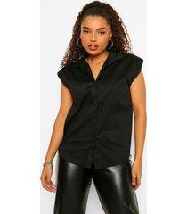 plus mouwloze blouse met schouderpads, black