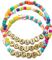 luxe positive, equality & energy 3-piece goldtone & enamel stretch bracelet set