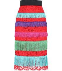 dolce & gabbana fringe detail lace skirt - red