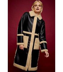idol black pu and borg long reversible coat - black