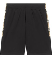 burberry vintage check trim track shorts - black