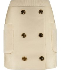 balmain 6 button ribbed waist skirt