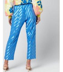 stine goya women's uili stripe trousers - striped blue - m