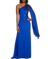 women's tadashi shoji cape sleeve crepe evening dress, size 16 - blue
