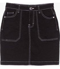 womens compare and contrast stitch denim mini skirt - black