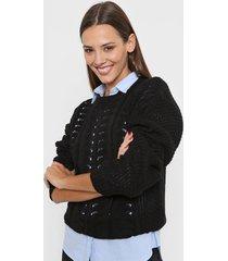 sweater negro nano calado manga ancha