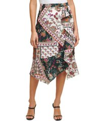 calvin klein printed ruffle-detail skirt