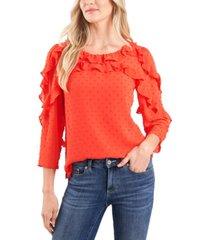 cece ruffled clip-dot blouse