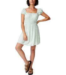 women's woven puff sleeve shirred fit and flare dress