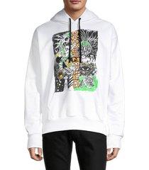 diesel men's s-alby graphic hoodie - white - size l